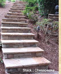 Natural flagstone is on the concrete pad on the steps and deck. Premier Stone is on the vertical surfaces.